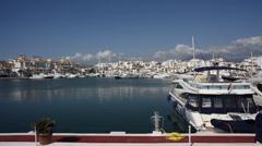 Spain Marbella Marina Luxury Boats Yachts Timelapse Stock Footage