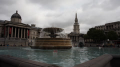 London Trafalgar Square Fountain National History Museum Timelapse Stock Footage