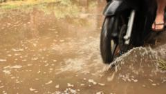 River Riding Compilation - Driving Through Floods in Bali, Indonesia - stock footage