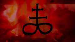 Sulfer cross satanic Stock Footage