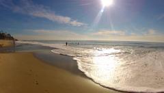 Foamy White Waves Lapping On Aliso Beach- Laguna Beach CA Stock Footage