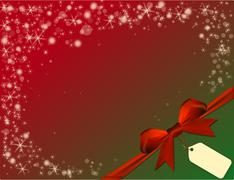 Christmas red background with red bow in green corner with price tag Stock Illustration