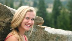 Pretty Teen Smiling, Laughing, Hamming For The Camera In A Mountain Meadow Stock Footage