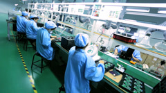 Chinese workers producing PCBs, Mainland China Stock Footage