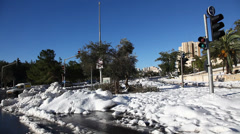 Snow in the streets of Jerusalem, Israel Stock Footage