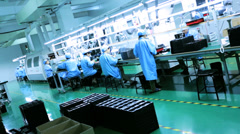 Chinese workers producing PCBs, Mainland China - stock footage