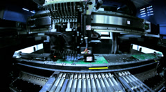 Advanced Robotic arm technology making PCBs, China - stock footage