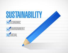 Sustainability check mark list concept Stock Illustration