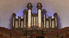 Mormon Tabernacle famous historic organ choir seats HD 0311 - stock footage