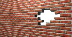 face brick wall with hole - stock illustration