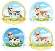 Dairy Products Labels Stock Illustration