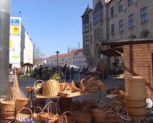 Dessau market square + tilt up City Hall tower Stock Footage