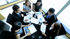 Overhead Asian Chinese Business Focus Group Future Planning Stock Footage