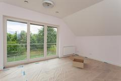 spacious room being renovated - stock photo