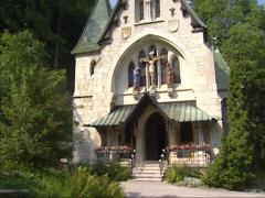 Old Church of Semmering, Austria, built in typical Semmering style + tilt down Stock Footage
