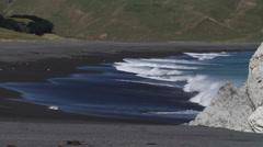 Shorebreak and offshore wind Stock Footage
