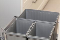 grey plastic boxes - stock photo