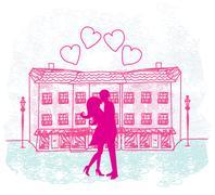 Romanttinen Valentine retro postikortti suudella pari Piirros