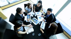 Boardroom Meeting Successful Ethnic Business People Overhead Stock Footage