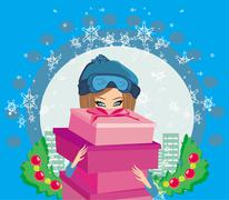 elegant and fashionable girl with gift box - stock illustration