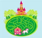 Stock Illustration of Funny maze game - princess waits in a castle
