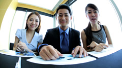 Asian Chinese Business People in Video Conference Meeting Stock Footage