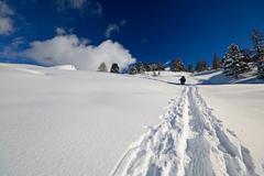 hiking in winter - stock photo