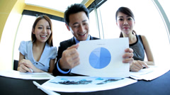 Asian Chinese Business People in Video Conference Meeting - stock footage