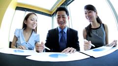 Video Conference Meeting Ambitious Ethnic Business Team Stock Footage