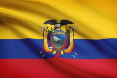 ecuadorian flag blowing in the wind. part of a series. - stock illustration