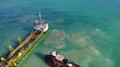 Aerial footage of a ship wreck - stock footage