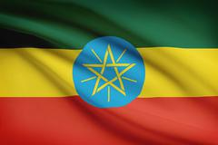 ethiopian flag blowing in the wind. part of a series. - stock illustration