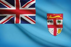 Stock Illustration of fijian flag blowing in the wind. part of a series.