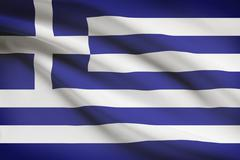 Greek flag blowing in the wind. part of a series. Stock Illustration