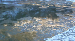 Floe floating on the river, illuminated by golden sun Stock Footage
