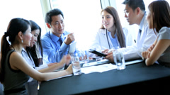 Meeting Ethnic Medical Consultants Hospital Boardroom - stock footage