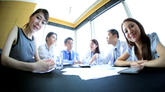 Young Ethnic Medical Team Success Video Conference Meeting Stock Footage