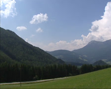 Panoramic view from Raxblick at Alpine meadow + valley, Austria Stock Footage