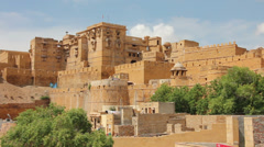 Jaisalmer fort in India. Panning shot Stock Footage