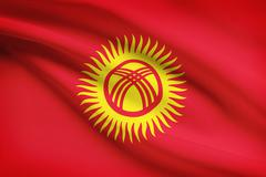 Kyrgyzstani flag blowing in the wind. part of a series. Stock Illustration