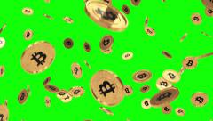 Bitcoin rain greenscreen motion blur Stock Footage