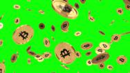 Stock Video Footage of Bitcoin rain greenscreen motion blur