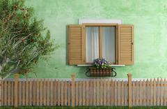 old house with wooden fence and apple tree - stock illustration