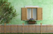 Stock Illustration of old house with wooden fence and apple tree