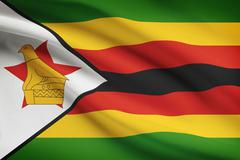Zimbabwean flag blowing in the wind. part of a series. Stock Illustration