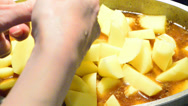 Stock Video Footage of cutting potato