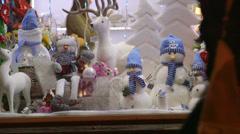 Christmas Gift Shop Window Display Stock Footage