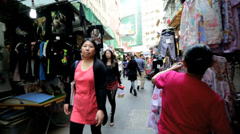 Asian City Residents Tourists Shopping Local Street Market - stock footage