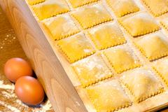 agnolotti pasta with eggs and beef - stock photo