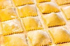 fresh agnolotti pasta - stock photo